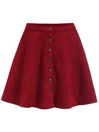 Single-breasted Flare Red Skirt