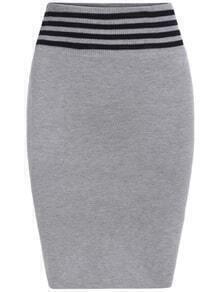 Striped Waist Knit Grey Skirt