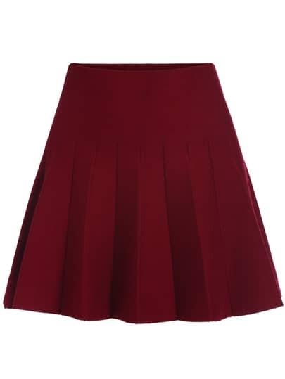 Elastic Waist Flare Maroon Skirt