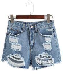 High Waist Ripped Denim Shorts