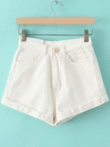 Cuffed Slim White Shorts