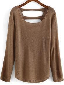 Round Neck Hollow Khaki Sweater