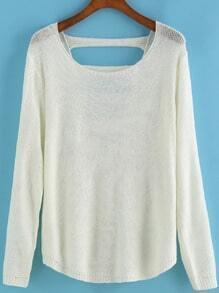 Round Neck Hollow White Sweater