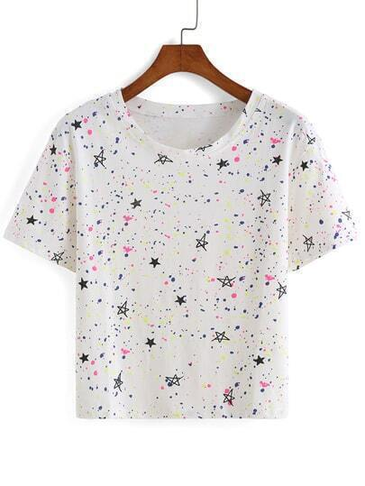 Star Print White T-shirt