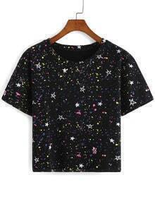 Star Print Black T-shirt