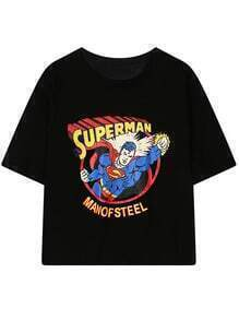 Superman Print Black T-shirt