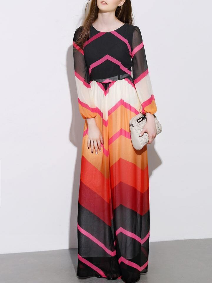 Multicolor Round Neck Long Sleeve Print Maxi Dress