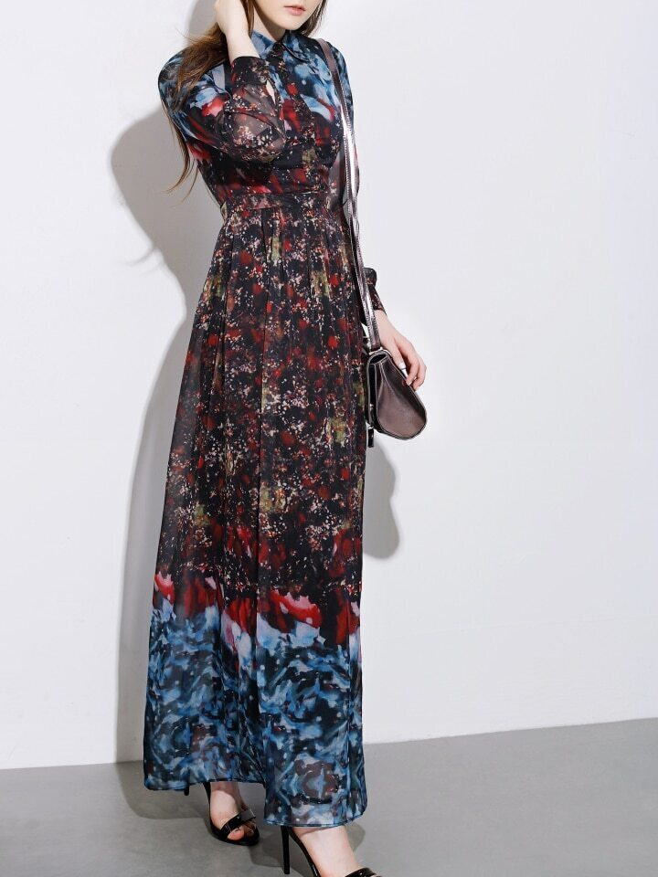 Multicolor Lapel Long Sleeve Print Maxi Dress