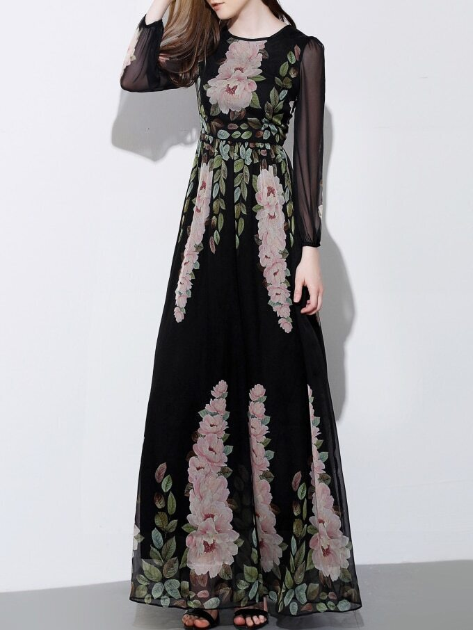 Black Round Neck Long Sleeve Print Maxi Dress