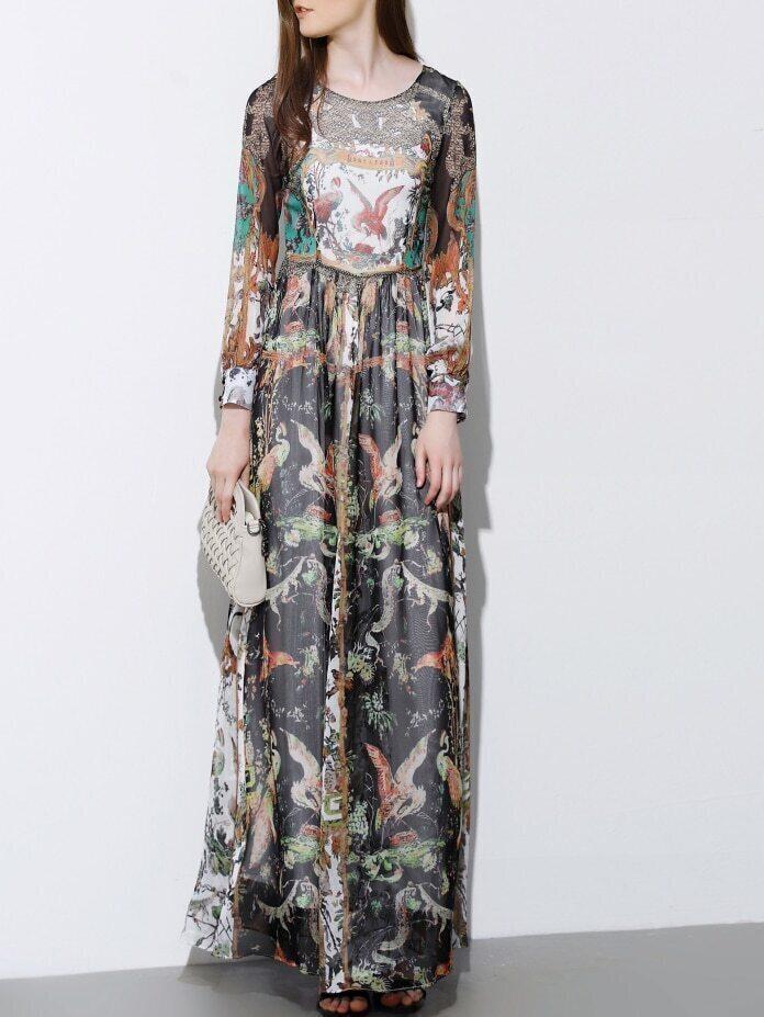 Multicolor Round Neck Long Sleeve Print Maxi Dress