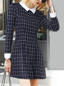 Navy Textured Contrast Collar Long Sleeve Plaid Dress