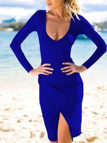 Royal Blue Deep Plunge Neck Slit Bodycon Dress