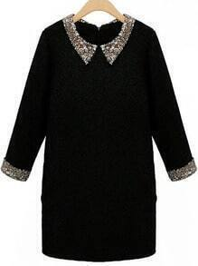 Black Doll Collar Sequined Straight Dress