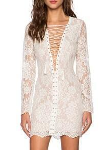 White Deep V Neck Self-Tie Lace Bodycon Dress