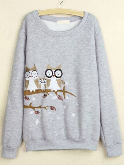 Grey Round Neck Owl Embroidered Sweatshirt