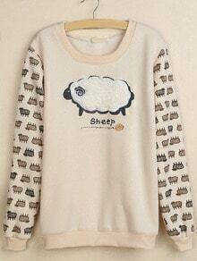 Beige Round Neck Sheep Embroidered Sweatshirt