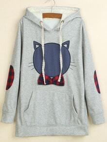 Light Grey Hooded Cat Animal Print Sweatshirt
