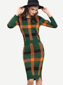 Green Long Sleeve Plaid Top With Knit Skirt Suits