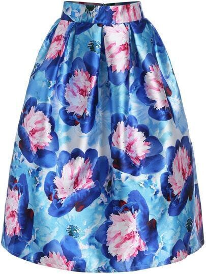 Blue Pink High Waist Feather Print Skirt