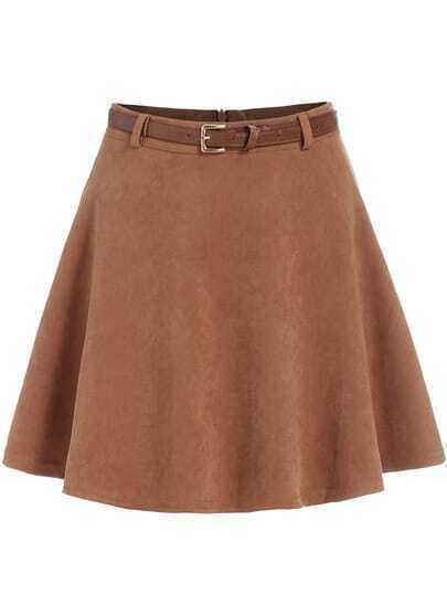 Khaki High Waist Flare Skirt