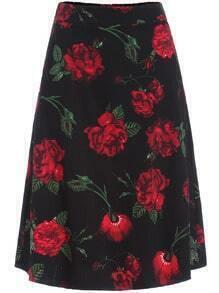 Multicolor Rose Print Flare Skirt
