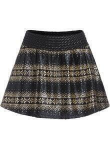 Black Gold High Waist Flare Skirt