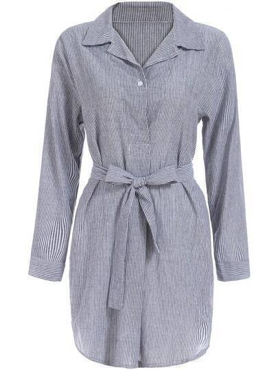 Grey Lapel Vertical Stripe Tie-waist Shirt Dress