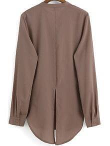 Brown Stand Collar Split Back Chiffon Blouse