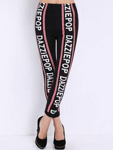 Black Letters Print Slim Leggings