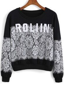 Black Round Neck Lace ROLIIN Print Sweatshirt