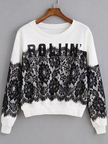 White Round Neck Lace ROLIIN Print Sweatshirt