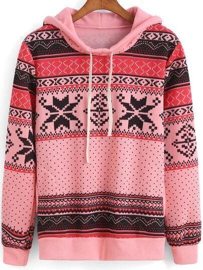 Pink Hooded Tribal Patterned Snowflake Print Sweatshirt