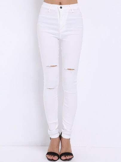 White Skinny Cut-out Pant
