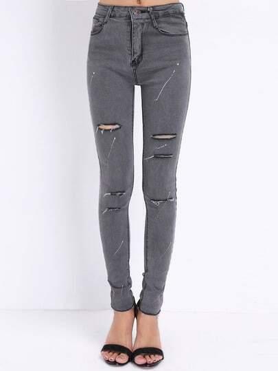 Grey Slim Ripped Denim Pant