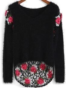 Black Round Neck Floral Crochet Dip Hem Sweater