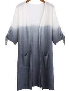 Grey Ombre Half Sleeve Pockets Cardigan