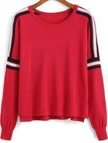 Colour-block Round Neck Crop Knit Sweater