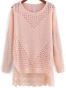 Pink Round Neck Hollow Lace Sweater