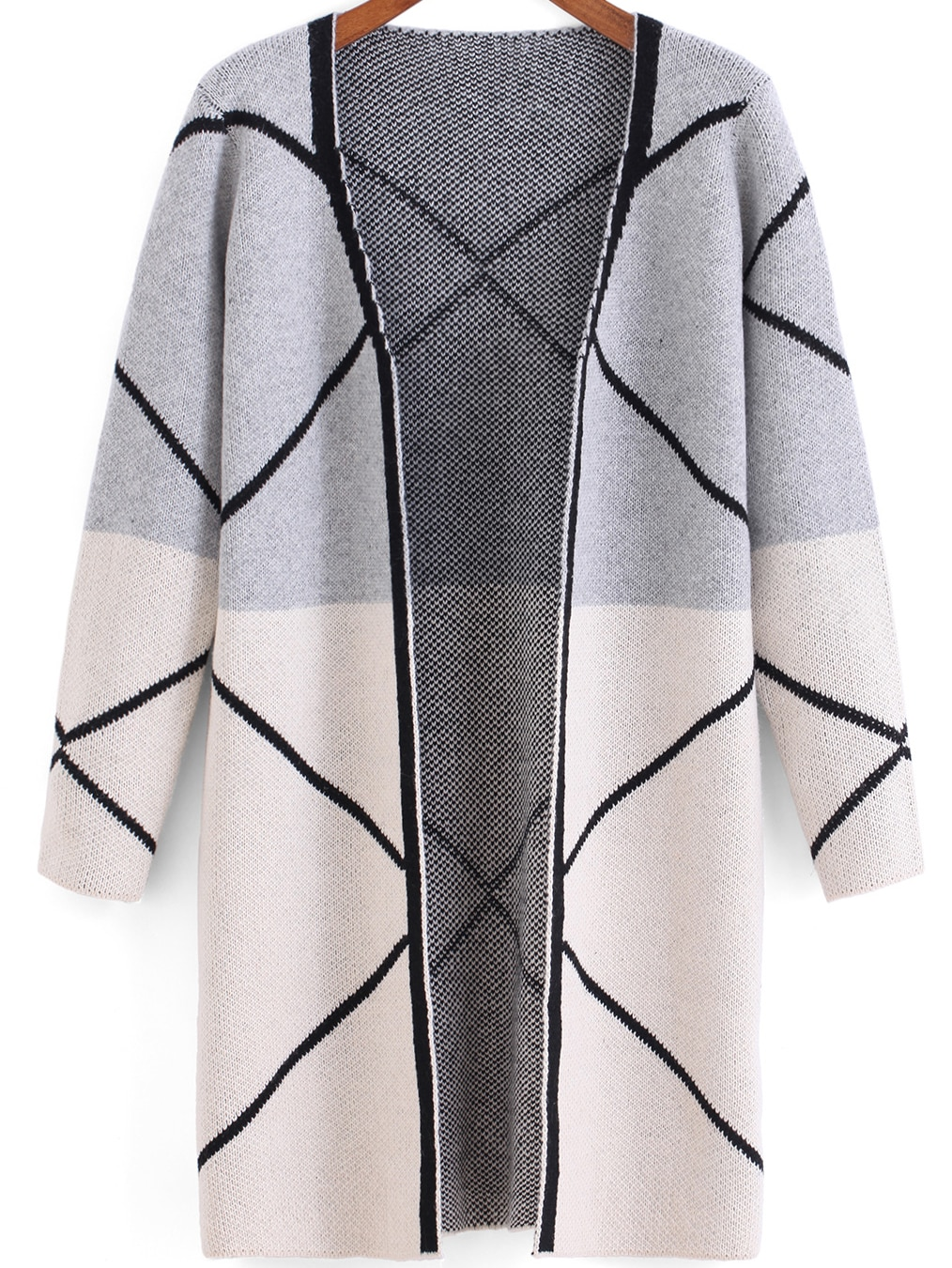 Light Grey White Long Sleeve Line Print Cardigan -SheIn(Sheinside)