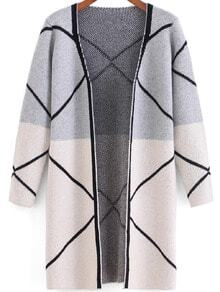 Light Grey White Long Sleeve Line Print Cardigan