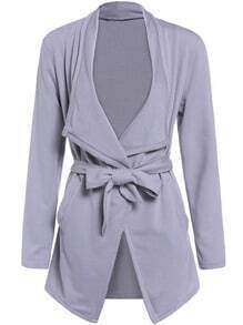 Grey Lapel Tie-waist Casual Coat