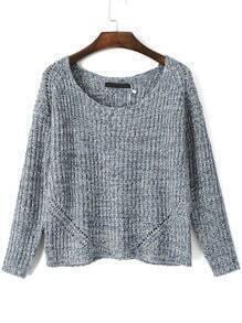 Grey Round Neck Knit Crop Sweater