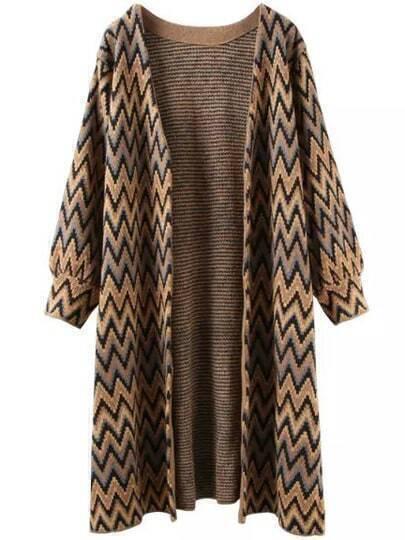 Khaki Black Long Sleeve Zigzag Knit Cardigan