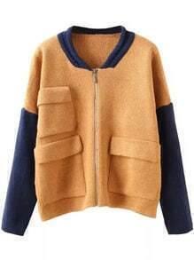 Khaki Navy Long Sleeve Pockets Zipper Knit Sweater