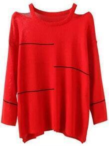 Red Off the Shoulder Striped Loose Sweater