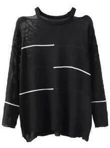 Black Off the Shoulder Striped Loose Sweater