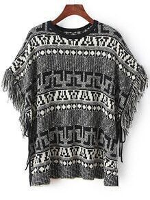 Black White Geometric Print Tassel Cape Sweater