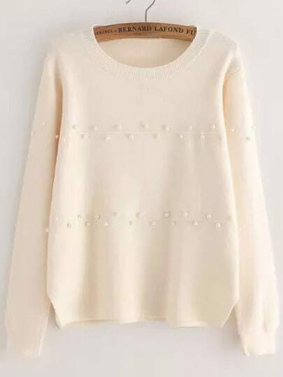 White Round Neck Bead Knit Sweater