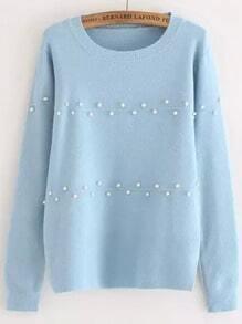 Blue Round Neck Bead Knit Sweater