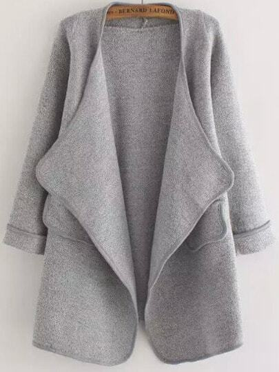 Grey Long Sleeve Stitch Pocket Loose Cardigan